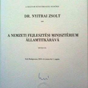 Nyitrai Zsolt a Nemzeti Fejlesztési Minisztérium államtitkára lett